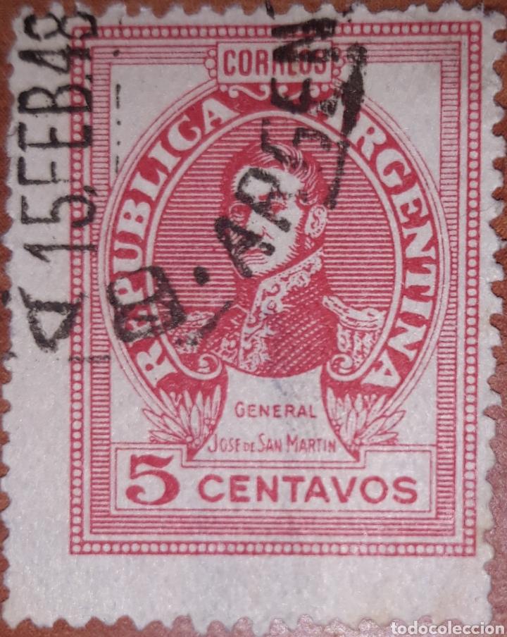 SELLO REPUBLICA ARGENTINA 5 CENTAVOS 1948 (Sellos - Extranjero - América - Argentina)