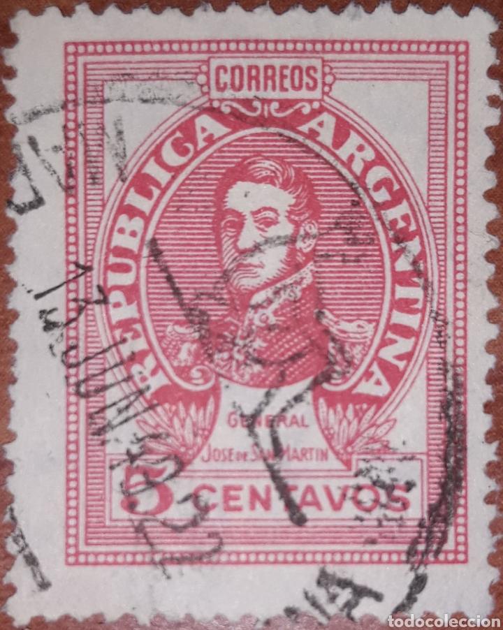 SELLO REPUBLICA ARGENTINA 5 CENTAVOS 1949 (Sellos - Extranjero - América - Argentina)