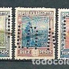Sellos: ARGENTINA,1912-15,LABRADOR, DOS USADOS Y UNO NUEVO CON CHARNELA,,YVERT 190-192,PERFORADOS. Lote 162834954