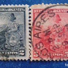 Sellos: ARGENTINA 1899. MICHEL 101 Y 104. LIBERTAD SENTADA. USADOS. Lote 168639944
