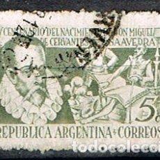 Sellos: ARGENTINA Nº 567, IV CENTENARIO DEL QUIJOTE DE CERVANTES, USADO. Lote 175703913