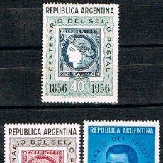 Sellos: ARGENTINA 661/3, CENTENARIO DEL SELLO ARGENTINO, NUEVO CON SEÑAL DE CHARNELA (SERIE COMPLETA). Lote 175706255