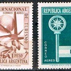 Sellos: ARGENTINA 687/8, CONGRESO INTERNACIONAL DE TURISMO 1957 NUEVO CON SEÑAL DE CHARNELA (SERIE COMPLETA). Lote 175706963