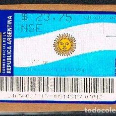Sellos: ARGENTINA, ETIQUETA DE FRANQUEO, BANDERA. Lote 175782763