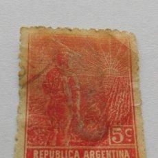 Sellos: SELLO 5 C REPÚBLICA ARGENTINA 1911 -LABRADOR. Lote 182171768