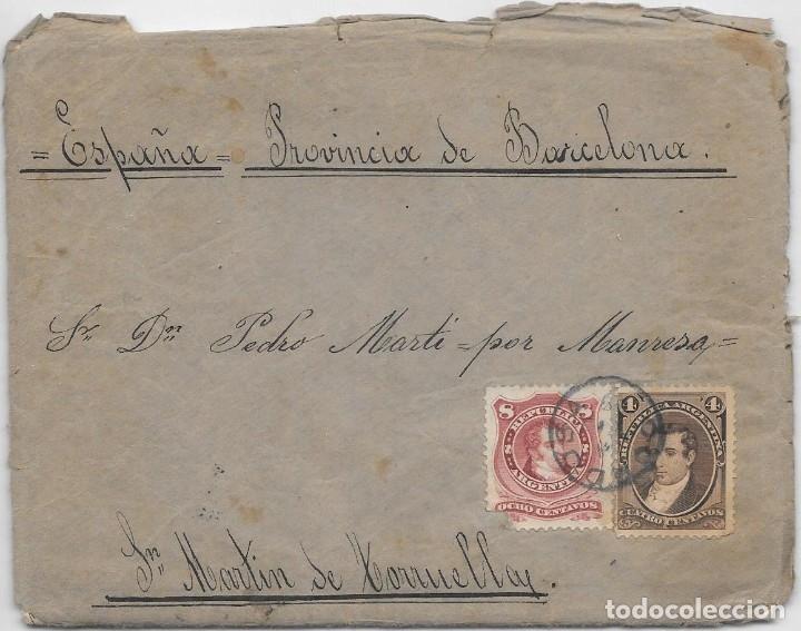 ARGENTINA. CATALUÑA. YVERT Nº 17 - 38. SOBRE DE CORDOBA A SAN MARTIN DE TORRUELLA. 1888 (Sellos - Extranjero - América - Argentina)