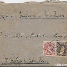 Sellos: ARGENTINA. CATALUÑA. YVERT Nº 17 - 38. SOBRE DE CORDOBA A SAN MARTIN DE TORRUELLA. 1888. Lote 182667361