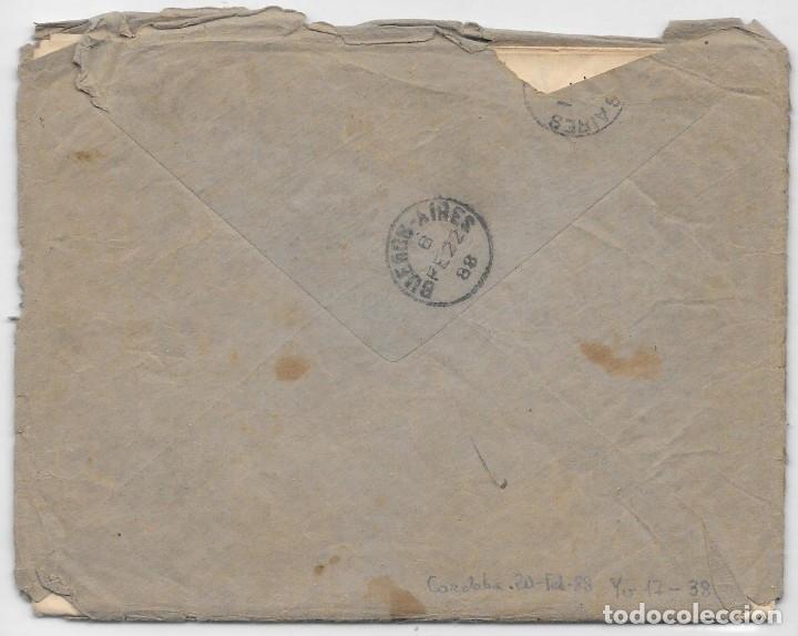 Sellos: ARGENTINA. CATALUÑA. YVERT Nº 17 - 38. SOBRE DE CORDOBA A SAN MARTIN DE TORRUELLA. 1888 - Foto 2 - 182667361