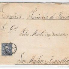 Sellos: ARGENTINA. CATALUÑA. YVERT Nº 59. SOBRE DE CORDOBA A SAN MARTIN DE TORRUELLA. 1888. Lote 182667530