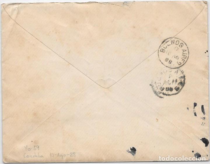 Sellos: ARGENTINA. CATALUÑA. YVERT Nº 59. SOBRE DE CORDOBA A SAN MARTIN DE TORRUELLA. 1888 - Foto 2 - 182667530