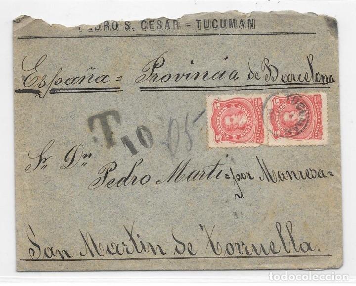ARGENTINA. CATALUÑA. YVERT Nº 63. SOBRE DE TUCUMAN A SAN MARTIN DE TORRUELLA. 1888 (Sellos - Extranjero - América - Argentina)
