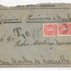 Sellos: ARGENTINA. CATALUÑA. YVERT Nº 63. SOBRE DE TUCUMAN A SAN MARTIN DE TORRUELLA. 1888. Lote 182667888