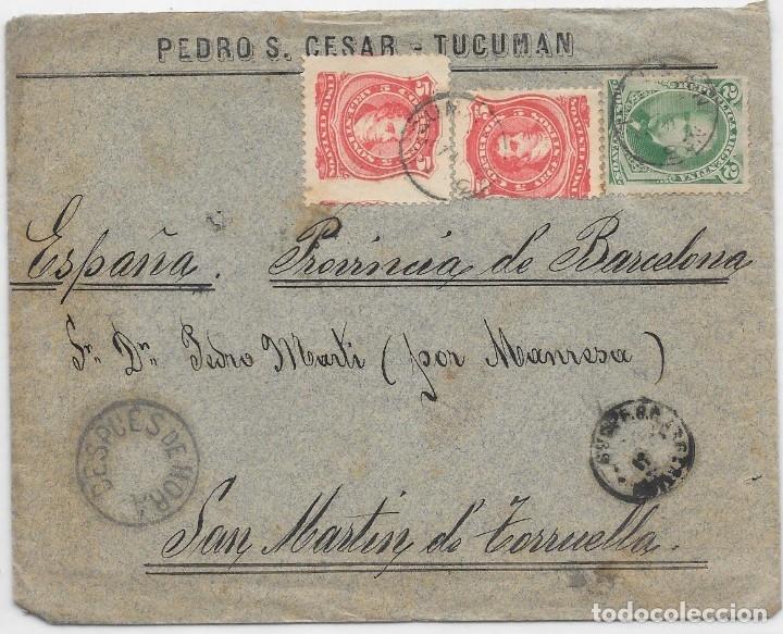 ARGENTINA. CATALUÑA. YVERT Nº 61 - 63. SOBRE DE TUCUMAN A SAN MARTIN DE TORRUELLA. 1889 (Sellos - Extranjero - América - Argentina)