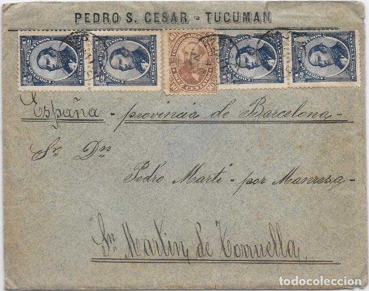 ARGENTINA. CATALUÑA. YVERT Nº 60 - 65. SOBRE DE TUCUMAN A SAN MARTIN DE TORRUELLA. 1889 (Sellos - Extranjero - América - Argentina)