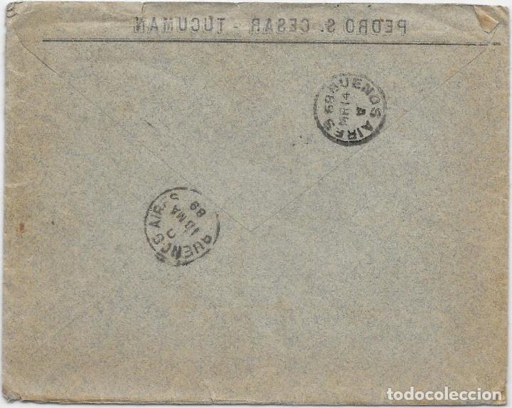 Sellos: ARGENTINA. CATALUÑA. YVERT Nº 60 - 65. SOBRE DE TUCUMAN A SAN MARTIN DE TORRUELLA. 1889 - Foto 2 - 182668957