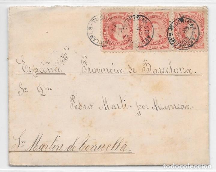 ARGENTINA. CATALUÑA. YVERT Nº 78 II. SOBRE DE TUCUMAN A SAN MARTIN DE TORRUELLA. 1889 (Sellos - Extranjero - América - Argentina)