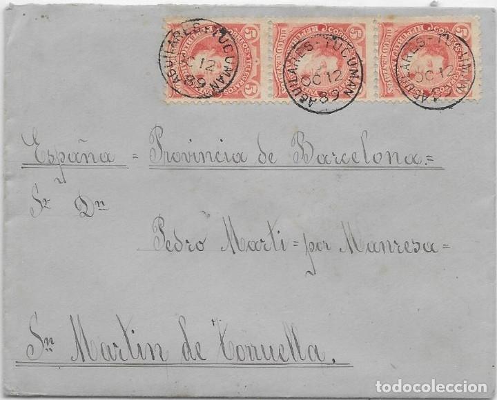 ARGENTINA. CATALUÑA. YVERT Nº 78 II. SOBRE DE AGUILARES A SAN MARTIN DE TORRUELLA. 1890 (Sellos - Extranjero - América - Argentina)