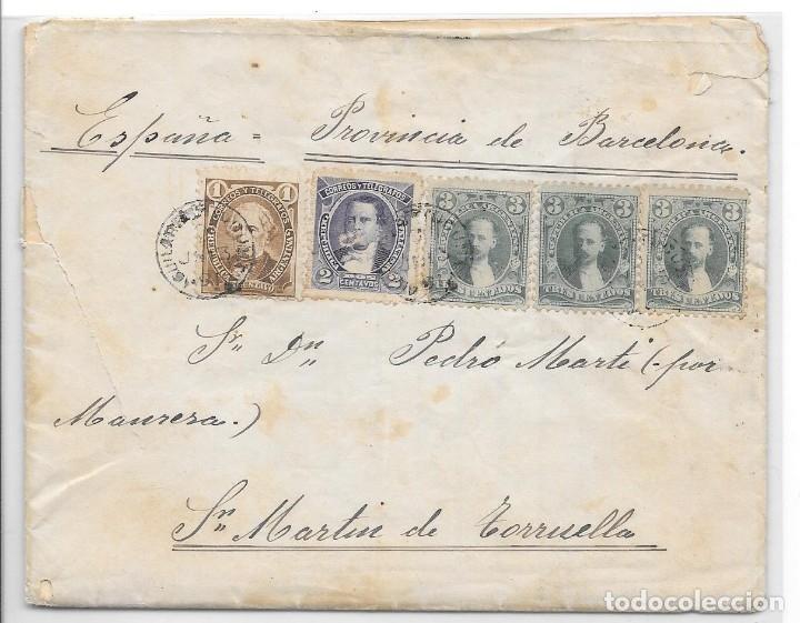 ARGENTINA. CATALUÑA. YVERT Nº 74 - 76 - 77. SOBRE DE AGUILARES A SAN MARTIN DE TORRUELLA. 1891 (Sellos - Extranjero - América - Argentina)