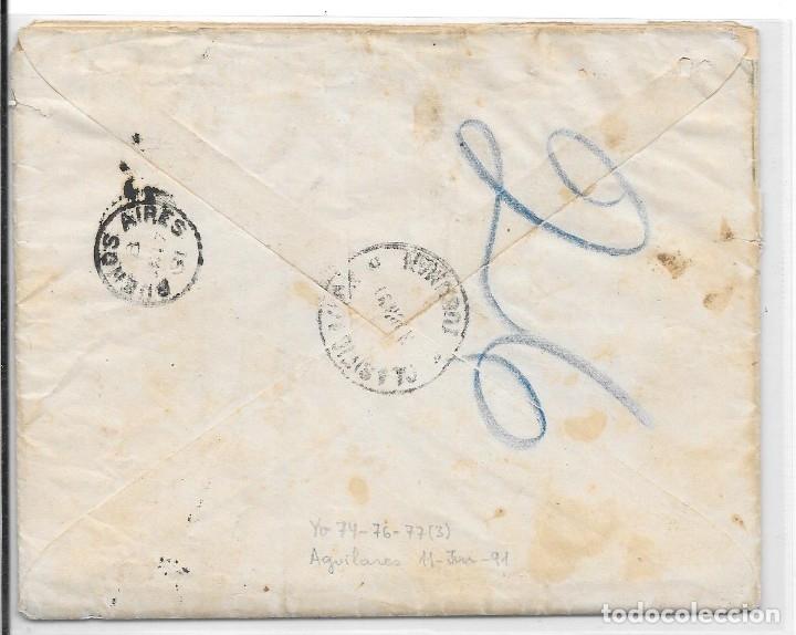 Sellos: ARGENTINA. CATALUÑA. YVERT Nº 74 - 76 - 77. SOBRE DE AGUILARES A SAN MARTIN DE TORRUELLA. 1891 - Foto 2 - 182671480