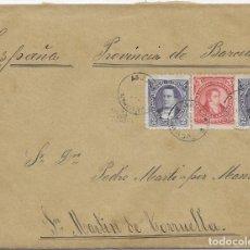 Sellos: ARGENTINA. CATALUÑA. YVERT Nº 76 - 78. SOBRE DE AGUILARES A SAN MARTIN DE TORRUELLA. 1891. Lote 182671727