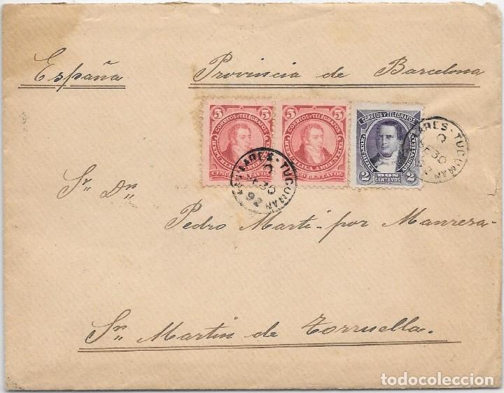 ARGENTINA. CATALUÑA. YVERT Nº 76 - 78. SOBRE DE AGUILARES A SAN MARTIN DE TORRUELLA. 1892 (Sellos - Extranjero - América - Argentina)