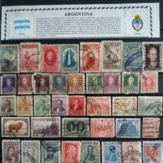 Sellos: COLECCIÓN DE 45 SELLOS DE ARGENTINA, CON MATASELLOS, DE DISTINTOS PERIODOS, ANTIGUOS Y MODERNOS. Lote 186339238