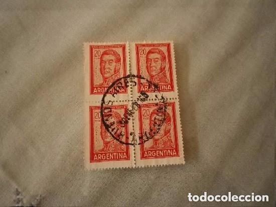ARGENTINA 4 SELLOS DE 20 PESOS GRAL JOSÉ DE SAN MARTÍN (Sellos - Extranjero - América - Argentina)