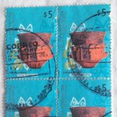 Sellos: ARGENTINA, HOJA BLOQUE DE CUATRO SELLOS IGUALES USADOS. Lote 190104537