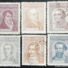 Sellos: 1935. ARGENTINA. 363, 364, 365, 366, 368, 373. PERSONAJES CÉLEBRES ARGENTINOS. USADOS Y NUEVOS. . Lote 190226257