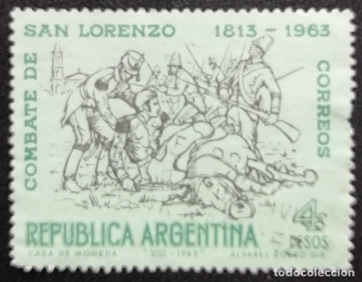 1963. ARGENTINA. 673. 150 AÑOS DE LA BATALLA DE SAN LORENZO. SERIE COMPLETA. USADO. (Sellos - Extranjero - América - Argentina)