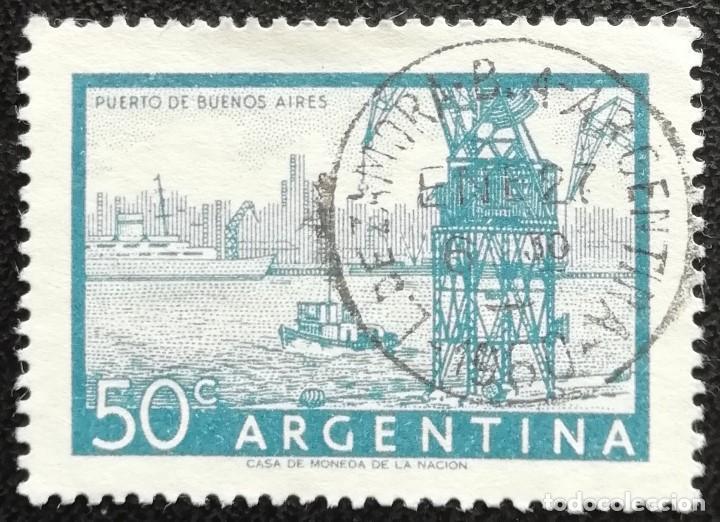 1954. ARGENTINA. 546-A. PUERTO DE BUENOS AIRES. BONITO MATASELLADO. USADO. (Sellos - Extranjero - América - Argentina)