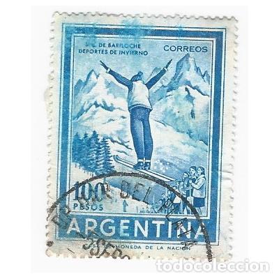 SELLO ARGENTINA S.C. DE BARILOCHE DEPORTES DE INVIERNO 100 PESOS (Sellos - Extranjero - América - Argentina)