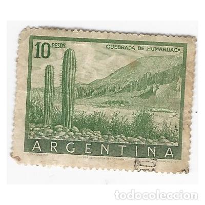 SELLO ARGENTINA QUEBRADA DE HUMAHUACA 10 PESOS (Sellos - Extranjero - América - Argentina)