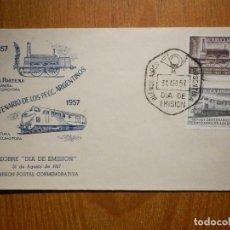Sellos: SOBRE PRIMER DIA - 31-AGOSTO-1957 - CENTENARIO DE F.F.C.C ARGENTINOS -. Lote 204100781