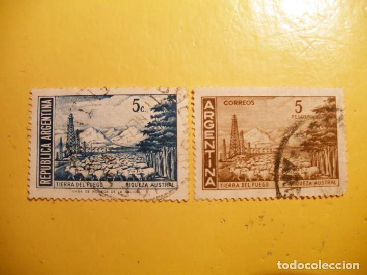 ARGENTINA - TIERRA DEL FUEGO - RIQUEZA AUSTRAL - MONTAÑAS Y OVEJAS. (Sellos - Extranjero - América - Argentina)