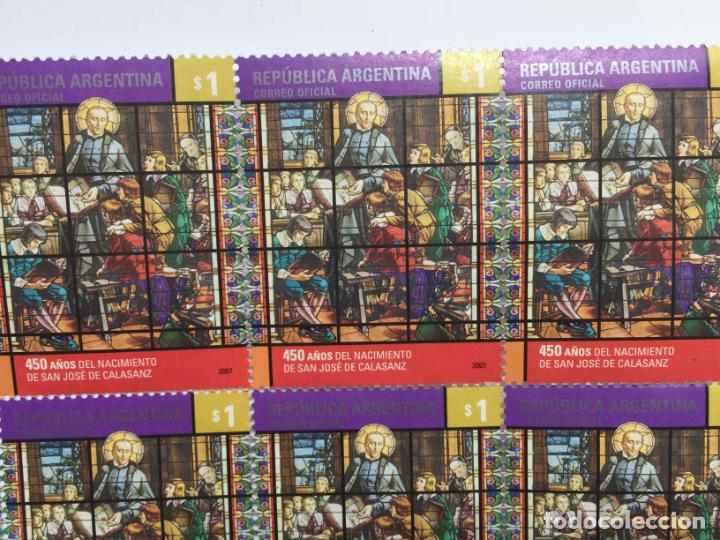 Sellos: Pliego 8 sellos: SAN JOSÉ DE CALASANZ (Argentina, 2007) Originales. Sin matasello. Sin circular. Col - Foto 3 - 212987362