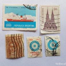 Sellos: ARGENTINA, TRATADO ANTARTICO, BASILICA DE LUJAN, 5 SELLOS, 5 STAMPS. Lote 217582757