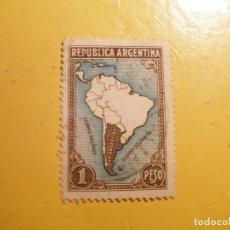 Sellos: ARGENTINA - OCEANO PACIFICO Y ATLANTICO - MAPA AMERICA.. Lote 218954321