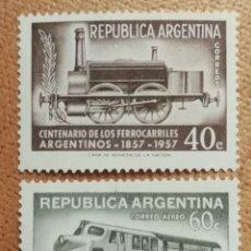 Francobolli: ARGENTINA, N°A46/47 MNH **FERROCARRILES ARGENTINOS 1957 (FOTOGRAFÍA REAL). Lote 220272911