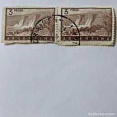 """Sellos: ARGENTINA. 2 SELLOS USADOS DE 3P, 1954. DIQUE """"EL NIHUL"""". ENVÍO GRATIS POR PEDIDOS DE 3€ Ó MÁS.. Lote 229423935"""