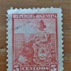 Sellos: SELLO USADO. REPÚBLICA ARGENTINA. 5 CENTAVOS 1899. Lote 241326025