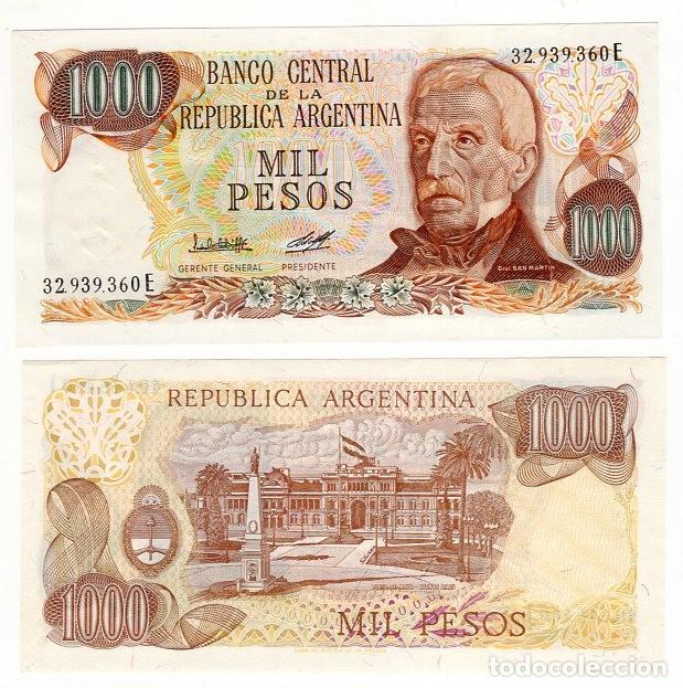 BILLETE DE ARGENTINA 1.000 PESOS - AÑO 1976 - 1ª FIRMA -GENERAL JOSE DE SAN MARTIN - PLANCHA - S/C - (Sellos - Extranjero - América - Argentina)
