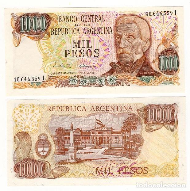 BILLETE DE ARGENTINA 1.000 PESOS - AÑO 1976 - 2ª FIRMA -GENERAL JOSE DE SAN MARTIN - PLANCHA - S/C - (Sellos - Extranjero - América - Argentina)