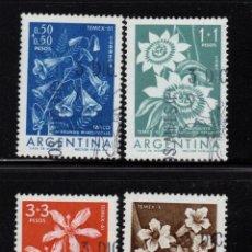 Sellos: ARGENTINA 629/32 - AÑO 1960 - FLORA - FLORES - TEMEX, EXPOSICION FILATELICA TEMATICA. Lote 245448770