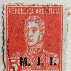 """Sellos: SELLO › ARGENTINA 1925 JOSÉ FRANCISCO DE SAN MARTÍN (1778-1850), OVPT. """"M.J.I."""" 5 ¢. Lote 257532830"""