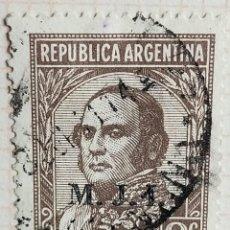 """Sellos: SELLO › ARGENTINA 1935 JUSTO JOSÉ DE URQUIZA (1801-1870), OVPT. """"M.J.I."""" 2 ¢. Lote 257552440"""