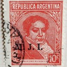 "Sellos: SELLO › ARGENTINA 1935 BERNARDINO RIVADAVIA (1780-1845), OVPT. ""M.J.I."" 10 ¢. Lote 257552855"