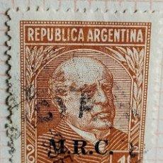 """Sellos: SELLO › ARGENTINA 1935 DOMINGO FAUSTINO SARMIENTO (1811-1888), OVPT. """"M.R.C."""" 1 ¢. Lote 257553805"""