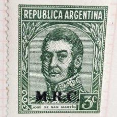 "Sellos: SELLO › ARGENTINA 1935 JOSÉ SAN MARTÍN OVPT. ""M.R.C."" 3 ¢. Lote 257554150"