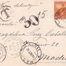 Sellos: FRANQUEO CURIOSO, MARCA CORREOS, SOBRE TARJETA POSTAL ARGENTINA. RECUERDO DE LA PLATA. PONCIANO.. Lote 257626055